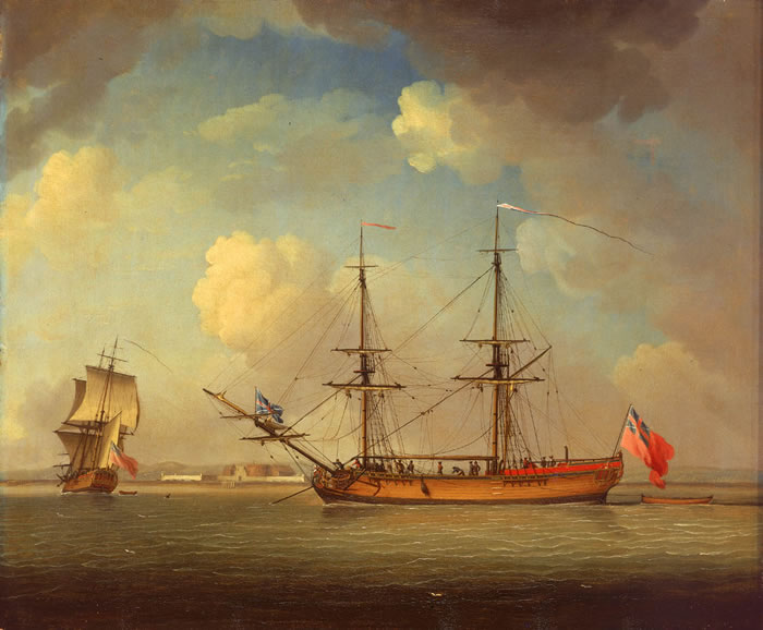 """""""A Naval Snow"""" by Charles Brooking, 1759."""