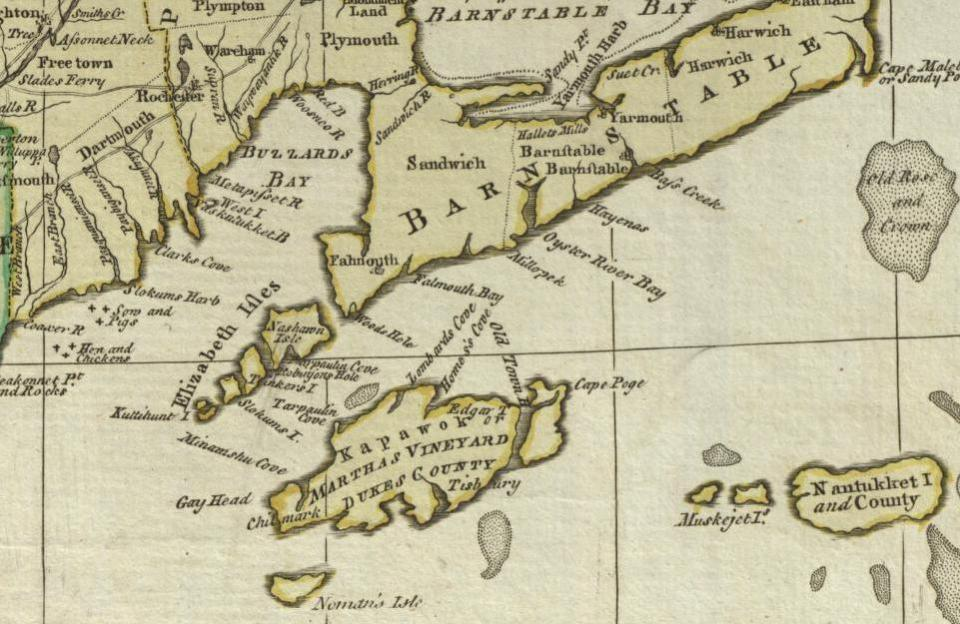 """Detail of Martha's Vineyard and Nantucket in Carrington Bowles' 1776 """"Map of the Seat of War in New England"""""""