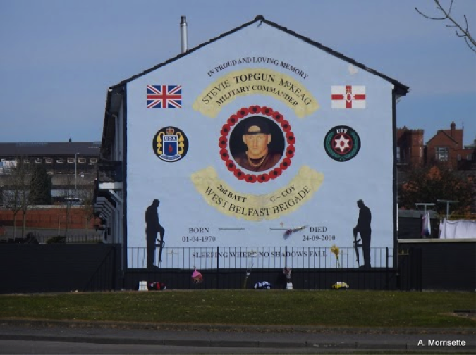 Shankill mural. The hero commemorated here is considered by some Catholics to have been a psychopath.