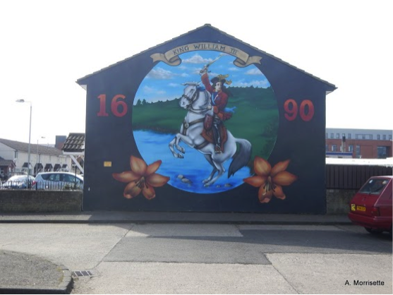 Shankill mural celebrating the Protestant victory at the Battle of the Boyne. The commemoration of this victory on July 12 is frequently the spark for violence and was the occasion of major riots in Canada in the 1840s.