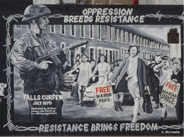 Falls mural. This one well illustrates both the currency of the murals and the philosophy of some of the Republican militants. Interestingly, the Falls murals are keen to relate the Irish Republican cause to fights for independence around the world, including the plight of five Cubans detained by the American government.