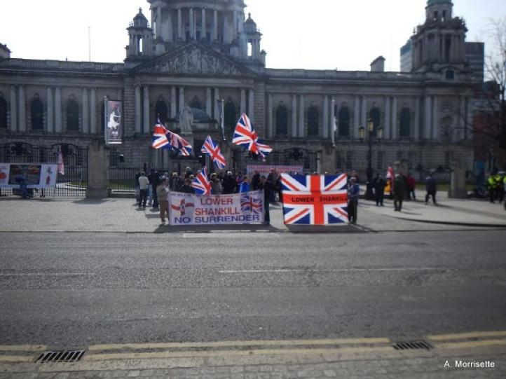 Belfast City Hall flag protest.