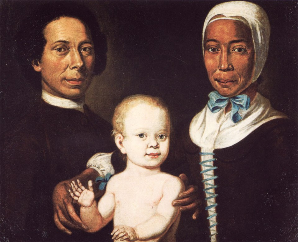 Photo of oil painting (courtesy of Jon Sensbach) by Johann Valentin Haidt, held by the Moravian Archives (Unity Archives [Archiv der Bruder-Unitat]), Herrnhut (Germany). Christian Protten (1715-1769) and Rebecca (1718-1780), an ex-slave and Moravian convert were married in Germany in 1740; shown also is their child, Anna Maria Protten.