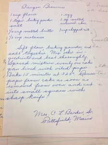 """Bangor Brownies"" Recipe from Mrs. C.L. Barden, Sr. of Pittsfield Maine."