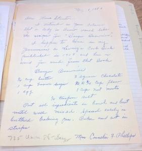 """Bangor Brownies"" recipe from Mrs. Cornelia F. Phillips."