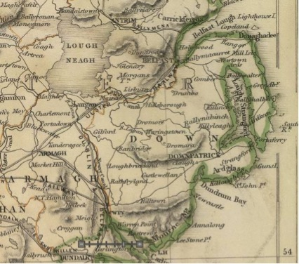 Figure 3: 1847 map of County Down. Ballynahinch is shown; Crossgar is about halfway between it and Killyleagh to the east. Castlewellan, about 20 miles south of Ballynahinch, was the site of a major Twelfth riot in 1849. Screen capture of Sharpe's Corresponding Maps. Ireland. London – Published by Chapman and Hall, 186 Strand, 1847. Enlarged Series. From the David Rumsey Map Collection. For the full image, click here.