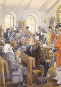Reading the Order of expulsion to the Acadians in the parish Church at Grand Pré, in 1755.