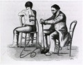 Bloodletting: Patient being cupped by physician with a terabdelle, 1862.
