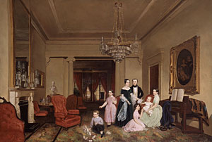 This c. 1850 painting of the Ernest Fiedler Family in their parlor, provides a sense of the sort of space Ellen Crosman may used for entertaining.