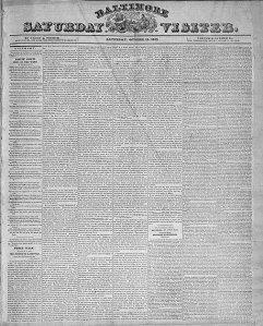 Baltimore Saturday Visiter, October 19, 1833.